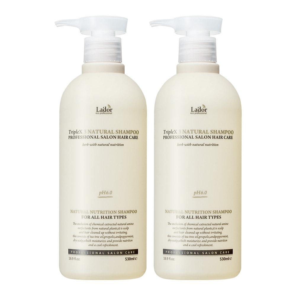1+1 Набор из 2 шампуней с протеинами шелка и кератином LA'DOR Triplex natural shampoo 530 мл + 530 мл: фото